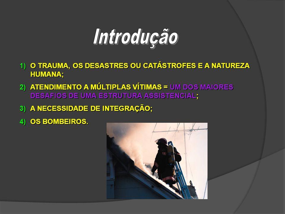 1)O TRAUMA, OS DESASTRES OU CATÁSTROFES E A NATUREZA HUMANA; 2)ATENDIMENTO A MÚLTIPLAS VÍTIMAS = UM DOS MAIORES DESAFIOS DE UMA ESTRUTURA ASSISTENCIAL