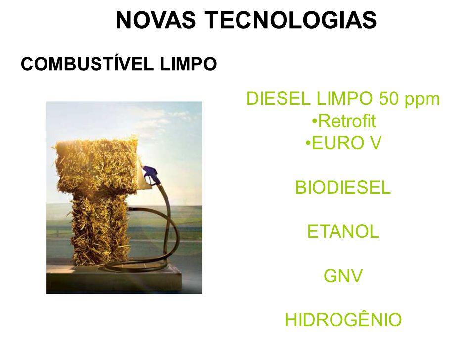 COMBUSTÍVEL LIMPO DIESEL LIMPO 50 ppm Retrofit EURO V BIODIESEL ETANOL GNV HIDROGÊNIO NOVAS TECNOLOGIAS