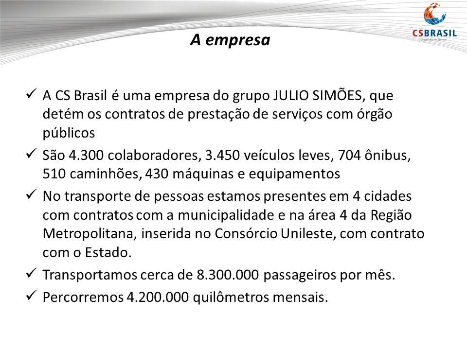 A empresa A CS Brasil é uma empresa do grupo JULIO SIMÕES, que detém os contratos de prestação de serviços com órgão públicos São 4.300 colaboradores, 3.450 veículos leves, 704 ônibus, 510 caminhões, 430 máquinas e equipamentos No transporte de pessoas estamos presentes em 4 cidades com contratos com a municipalidade e na área 4 da Região Metropolitana, inserida no Consórcio Unileste, com contrato com o Estado.
