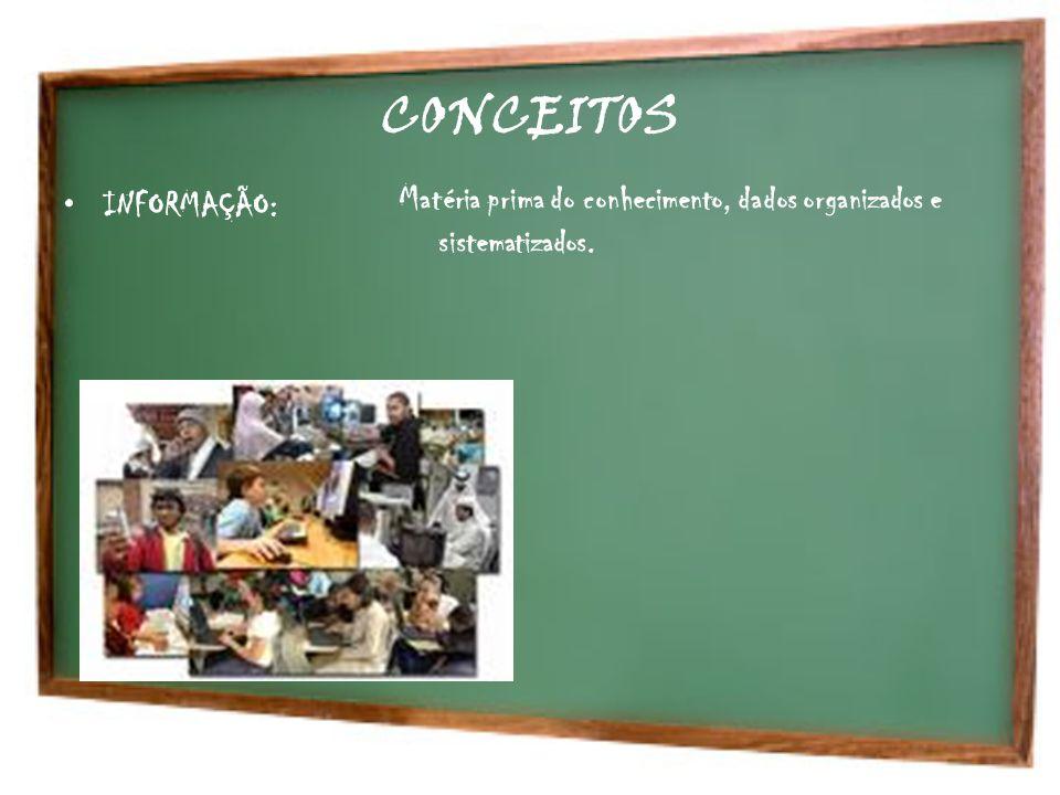 CONCEITOS INFORMAÇÃO: Matéria prima do conhecimento, dados organizados e sistematizados.