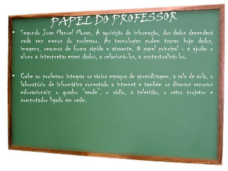 PAPEL DO PROFESSOR Segundo Jose Manuel Moran, A aquisição da informação, dos dados dependerá cada vez menos do professor. As tecnologias podem trazer