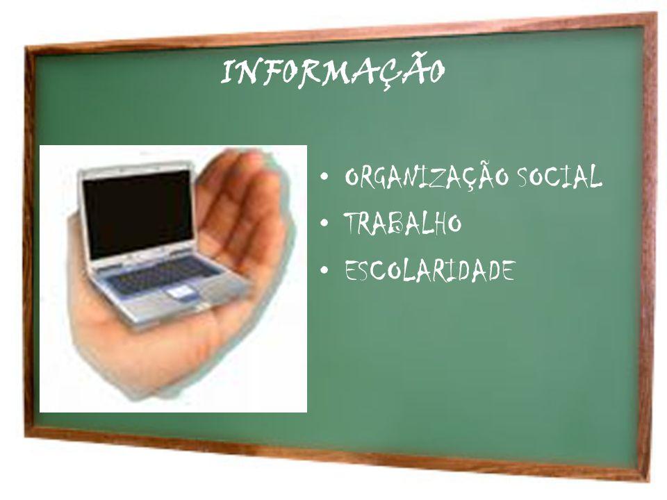 INFORMAÇÃO ORGANIZAÇÃO SOCIAL TRABALHO ESCOLARIDADE