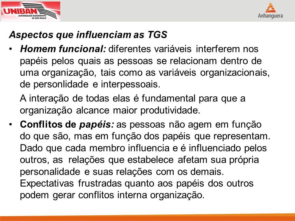 Aspectos que influenciam as TGS Homem funcional: diferentes variáveis interferem nos papéis pelos quais as pessoas se relacionam dentro de uma organiz