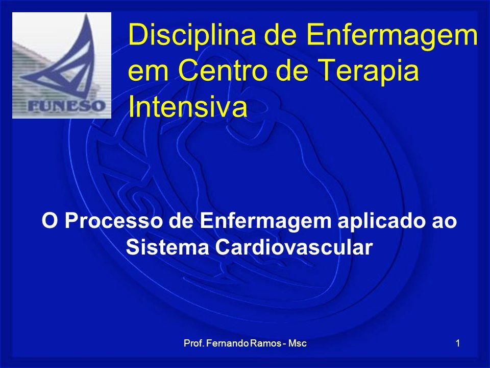 Prof. Fernando Ramos - Msc1 Disciplina de Enfermagem em Centro de Terapia Intensiva O Processo de Enfermagem aplicado ao Sistema Cardiovascular