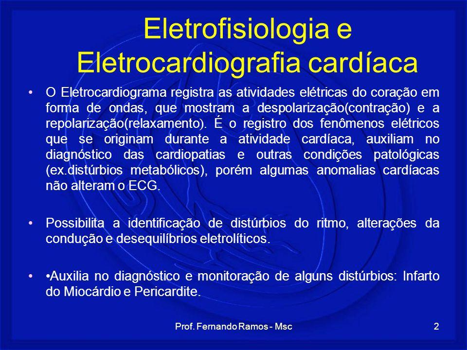 Prof. Fernando Ramos - Msc2 Eletrofisiologia e Eletrocardiografia cardíaca O Eletrocardiograma registra as atividades elétricas do coração em forma de
