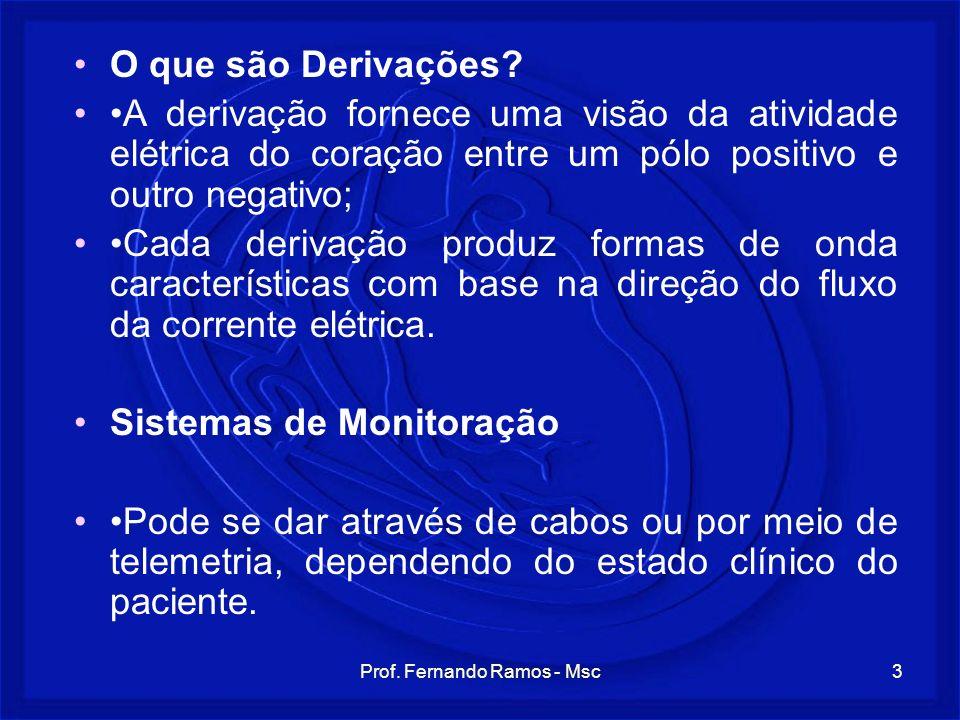 Prof. Fernando Ramos - Msc3 O que são Derivações? A derivação fornece uma visão da atividade elétrica do coração entre um pólo positivo e outro negati