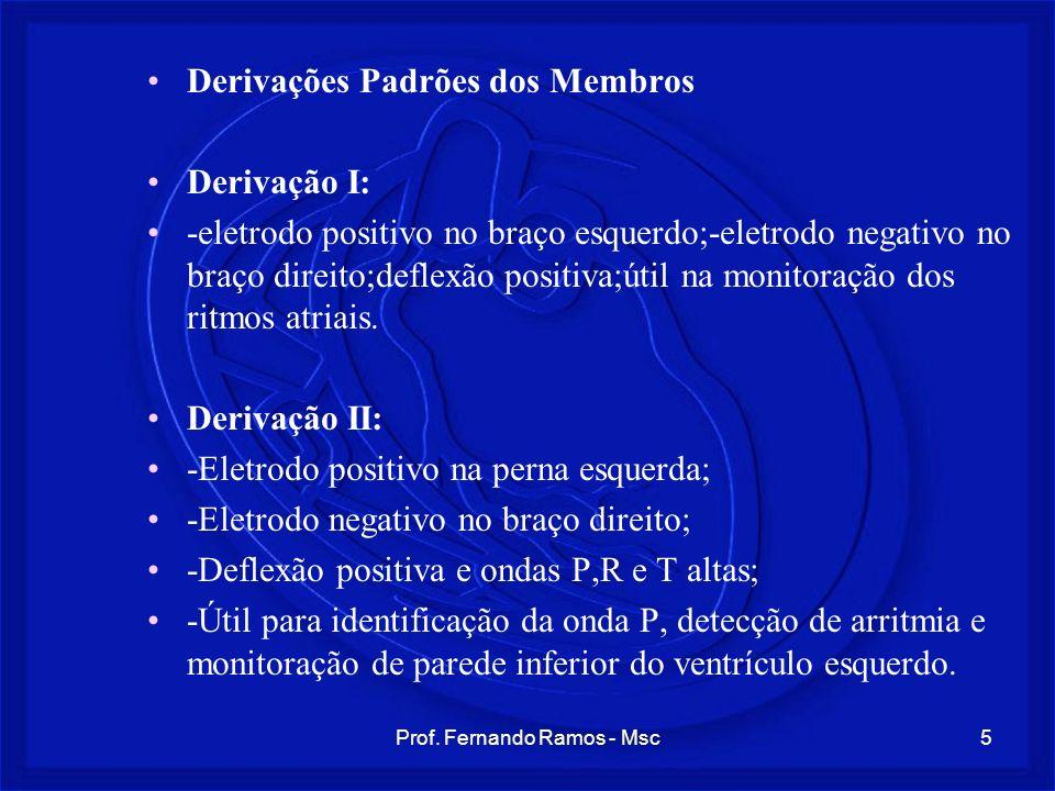 Prof. Fernando Ramos - Msc5 Derivações Padrões dos Membros Derivação I: -eletrodo positivo no braço esquerdo;-eletrodo negativo no braço direito;defle