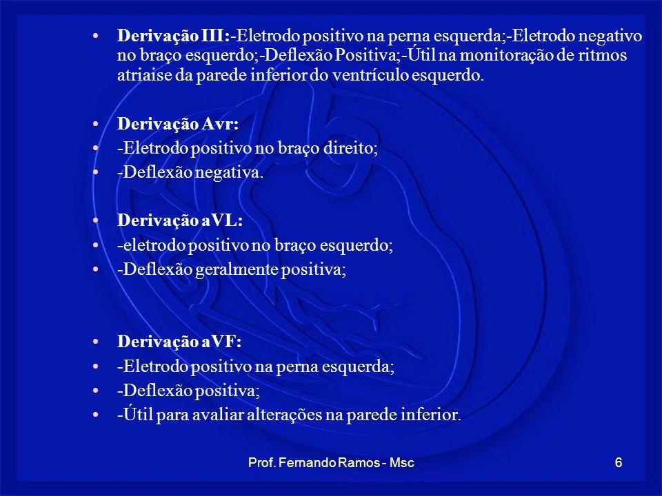 Prof. Fernando Ramos - Msc6 Derivação III:-Eletrodo positivo na perna esquerda;-Eletrodo negativo no braço esquerdo;-Deflexão Positiva;-Útil na monito