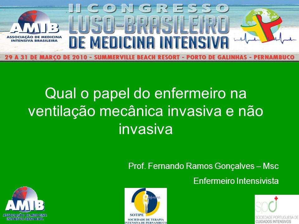 Qual o papel do enfermeiro na ventilação mecânica invasiva e não invasiva Prof. Fernando Ramos Gonçalves – Msc Enfermeiro Intensivista