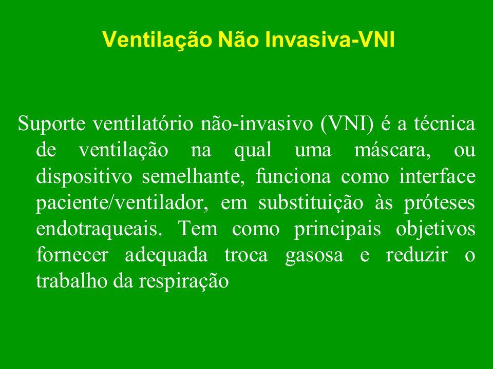 Ventilação Não Invasiva-VNI Suporte ventilatório não-invasivo (VNI) é a técnica de ventilação na qual uma máscara, ou dispositivo semelhante, funciona