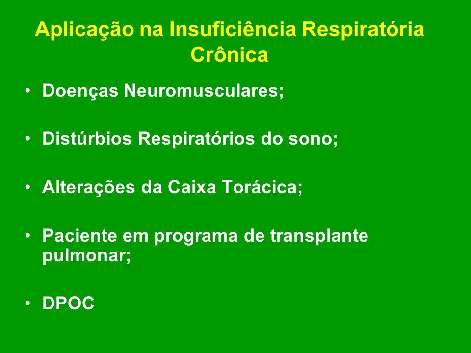 Aplicação na Insuficiência Respiratória Crônica Doenças Neuromusculares; Distúrbios Respiratórios do sono; Alterações da Caixa Torácica; Paciente em p