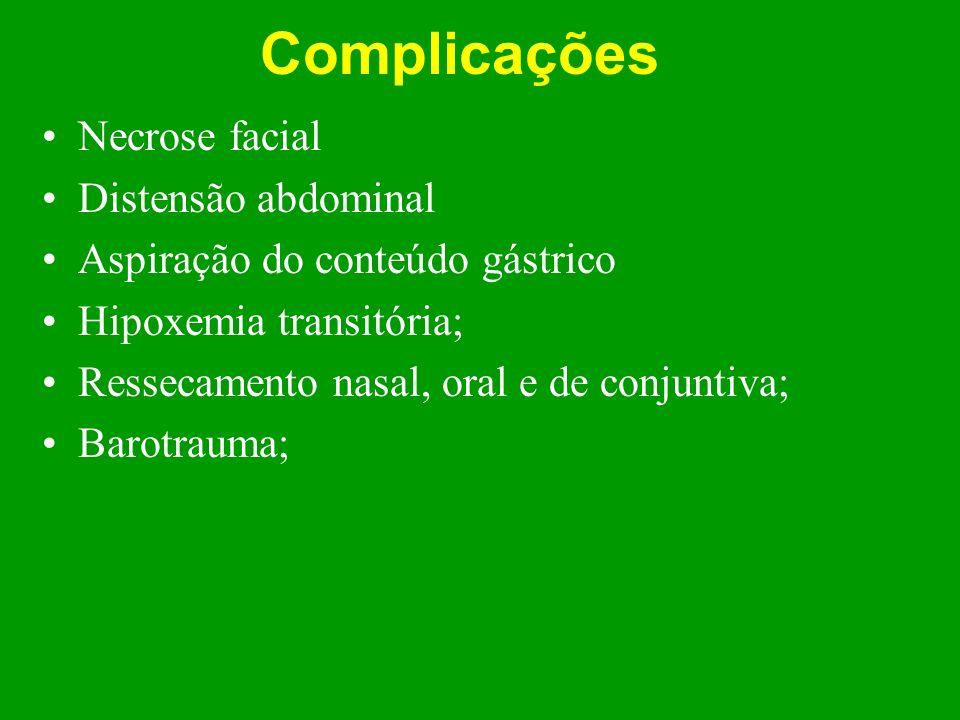 Complicações Necrose facial Distensão abdominal Aspiração do conteúdo gástrico Hipoxemia transitória; Ressecamento nasal, oral e de conjuntiva; Barotr