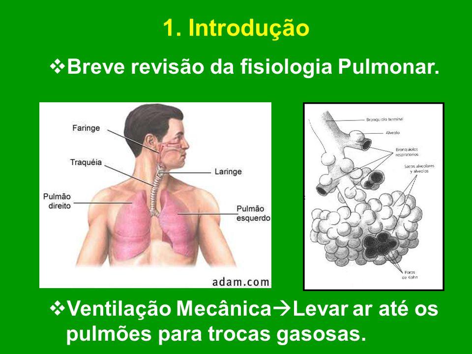1. Introdução Breve revisão da fisiologia Pulmonar. Ventilação Mecânica Levar ar até os pulmões para trocas gasosas.