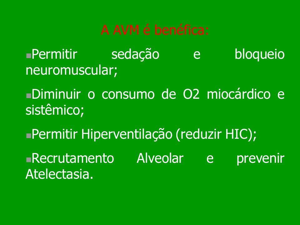 A AVM é benéfica: Permitir sedação e bloqueio neuromuscular; Diminuir o consumo de O2 miocárdico e sistêmico; Permitir Hiperventilação (reduzir HIC);