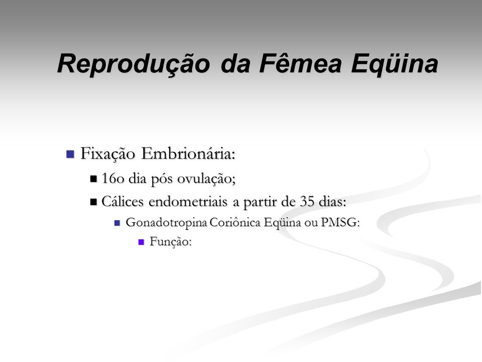 Reprodução da Fêmea Eqüina Gestação Gestação 315 360 dias; 315 360 dias; Reconhecimento materno: Reconhecimento materno: Previne regressão do CL (Stan
