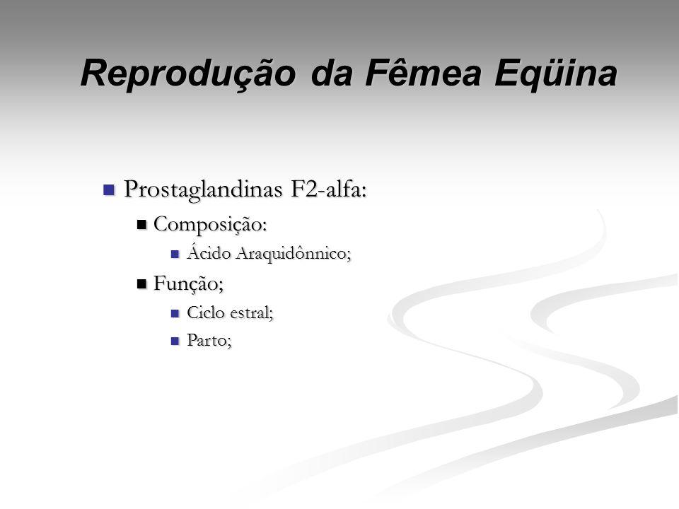 Reprodução da Fêmea Eqüina Progesterona: Progesterona: CL, placenta e glândula adrenal (Hafez, 1995); CL, placenta e glândula adrenal (Hafez, 1995); F