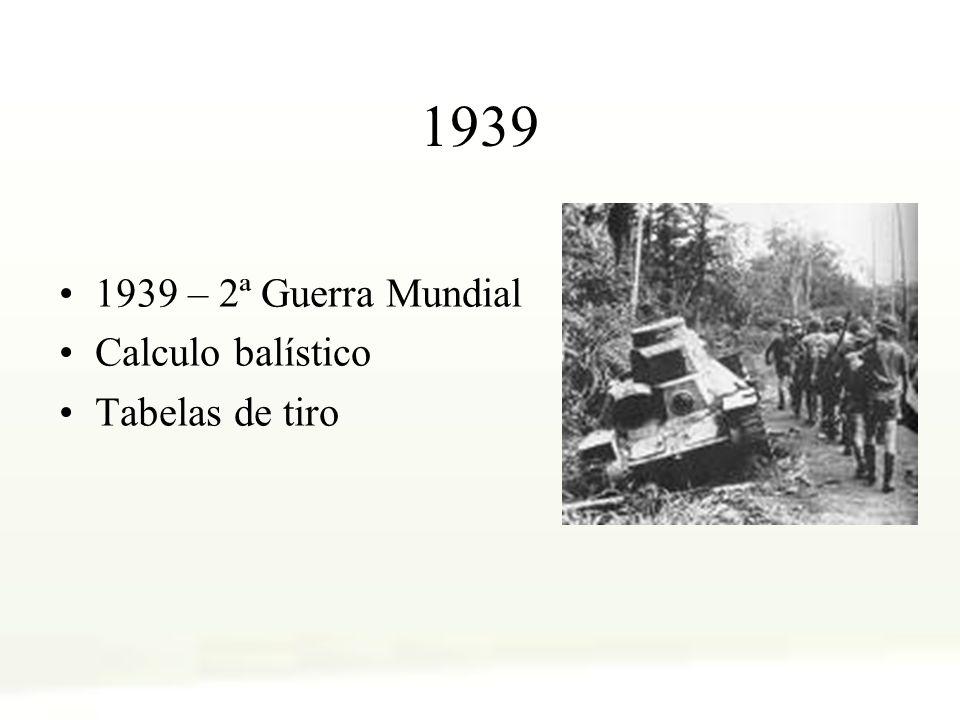 1939 1939 – 2ª Guerra Mundial Calculo balístico Tabelas de tiro