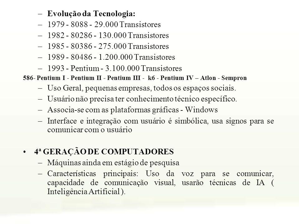 –Evolução da Tecnologia: –1979 - 8088 - 29.000 Transistores –1982 - 80286 - 130.000 Transistores –1985 - 80386 - 275.000 Transistores –1989 - 80486 -