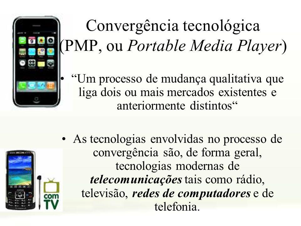 Convergência tecnológica (PMP, ou Portable Media Player) Um processo de mudança qualitativa que liga dois ou mais mercados existentes e anteriormente