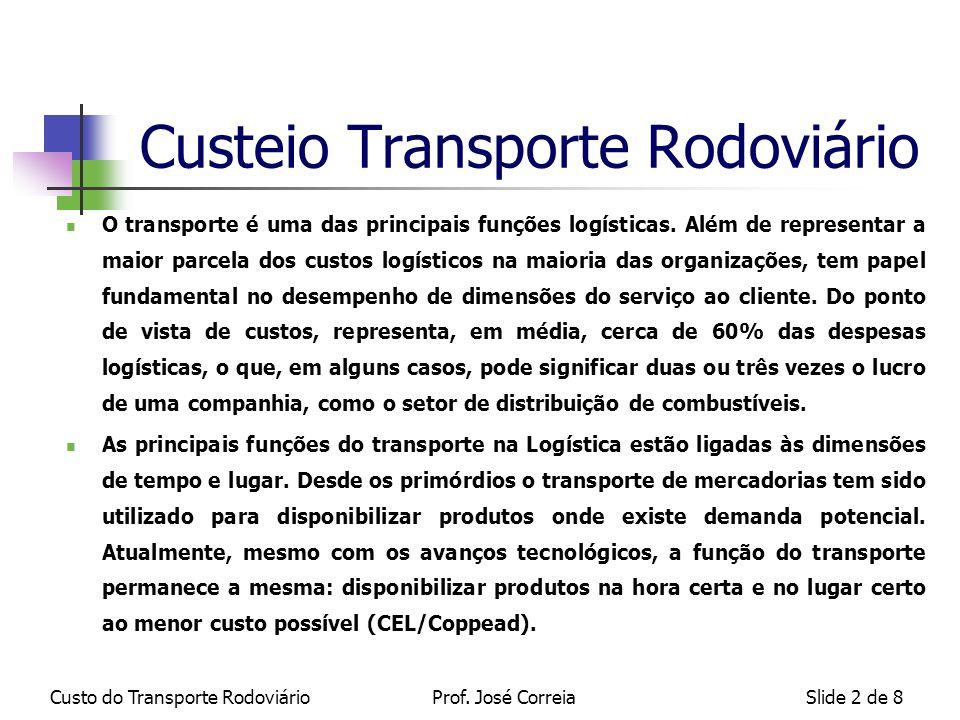 Custo do Transporte RodoviárioSlide 3 de 8 Segundo Pimenta Lima (CEL/Coppead) a apuração do custo rodoviário é divido em 4 etapas: DEFINIÇÃO DOS ITENS DE CUSTO CLASSIFICAÇÃO DOS ITENS DE CUSTO EM FIXOS E VARIÁVEIS CÁLCULO DO CUSTO DE CADA ITEM CUSTEIO DAS ROTAS DE ENTREGA Custeio Transporte Rodoviário Prof.