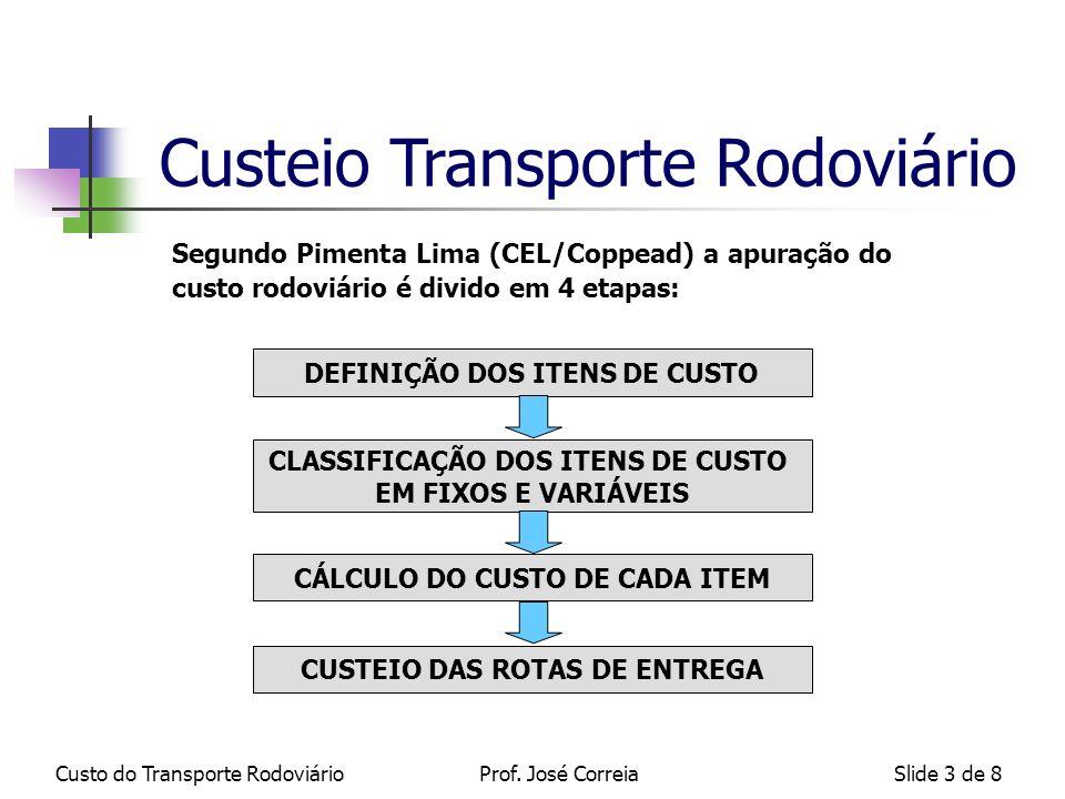 Custo do Transporte RodoviárioSlide 4 de 8 DEPRECIAÇÃO DO VEÍCULO; SALÁRIO DO MOTORISTA; SEGURO DO VEÍCULO; IPVA/SEGURO OBRIGATÓRIO; CUSTOS ADMINISTRATIVOS; COMBUSTÍVEIS; PNEUS; LUBRIFICANTES; MANUTENÇÃO; PEDÁGIOS.