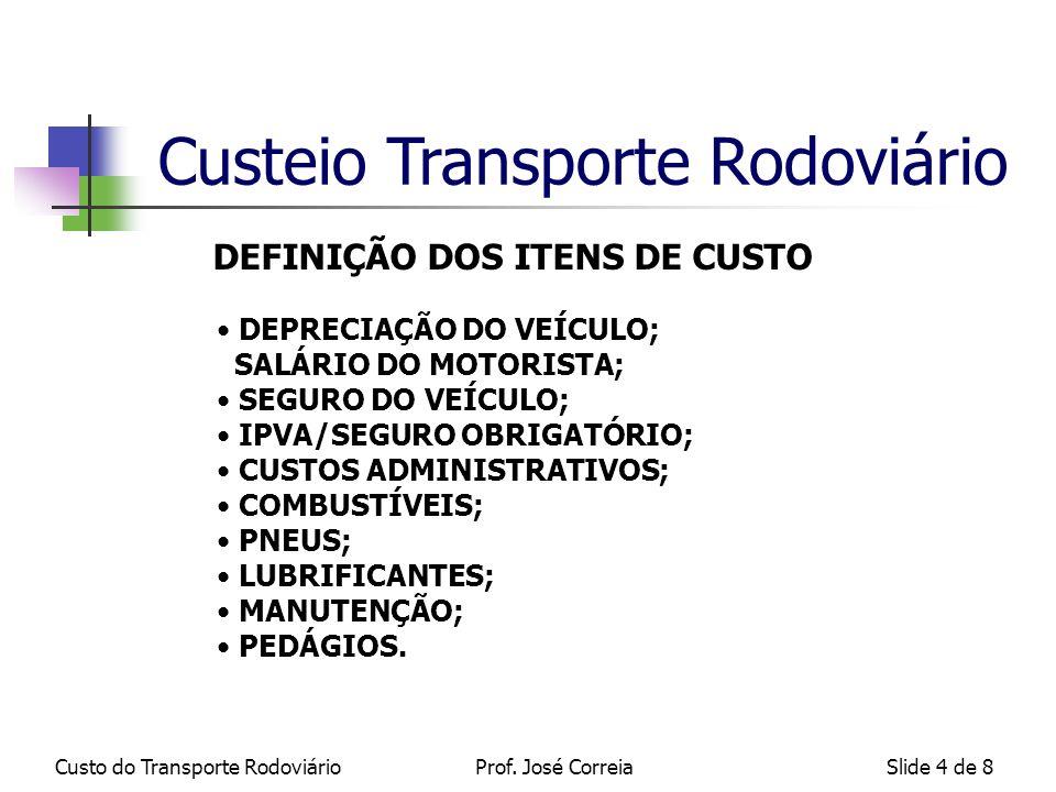 Custo do Transporte RodoviárioSlide 5 de 8 Classificação dos Itens de Custo em Fixo e Variáveis: FIXOS ( não variam com a kilometragem ) : DEPRECIAÇÃO; CUSTOS ADMINISTRATIVOS; IPVA/SEGURO OBRIGATÓRIO; SALÁRIO DO MOTORISTA.