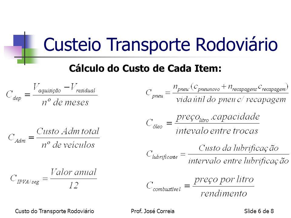 Custo do Transporte RodoviárioSlide 6 de 8 Cálculo do Custo de Cada Item: Custeio Transporte Rodoviário Prof.