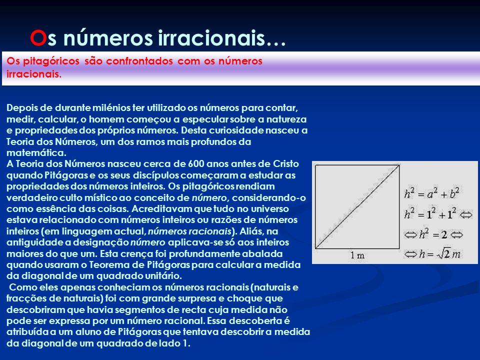 Os pitagóricos são confrontados com os números irracionais. Depois de durante milénios ter utilizado os números para contar, medir, calcular, o homem