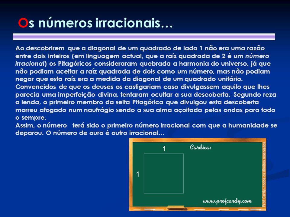 Ao descobrirem que a diagonal de um quadrado de lado 1 não era uma razão entre dois inteiros (em linguagem actual, que a raíz quadrada de 2 é um númer