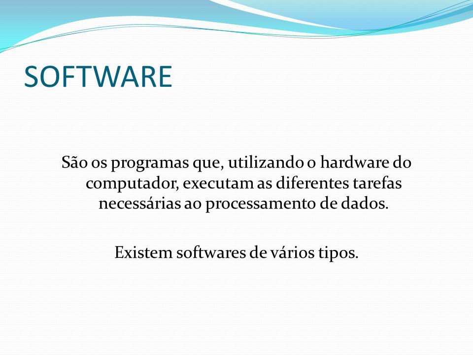 SOFTWARE São os programas que, utilizando o hardware do computador, executam as diferentes tarefas necessárias ao processamento de dados. Existem soft