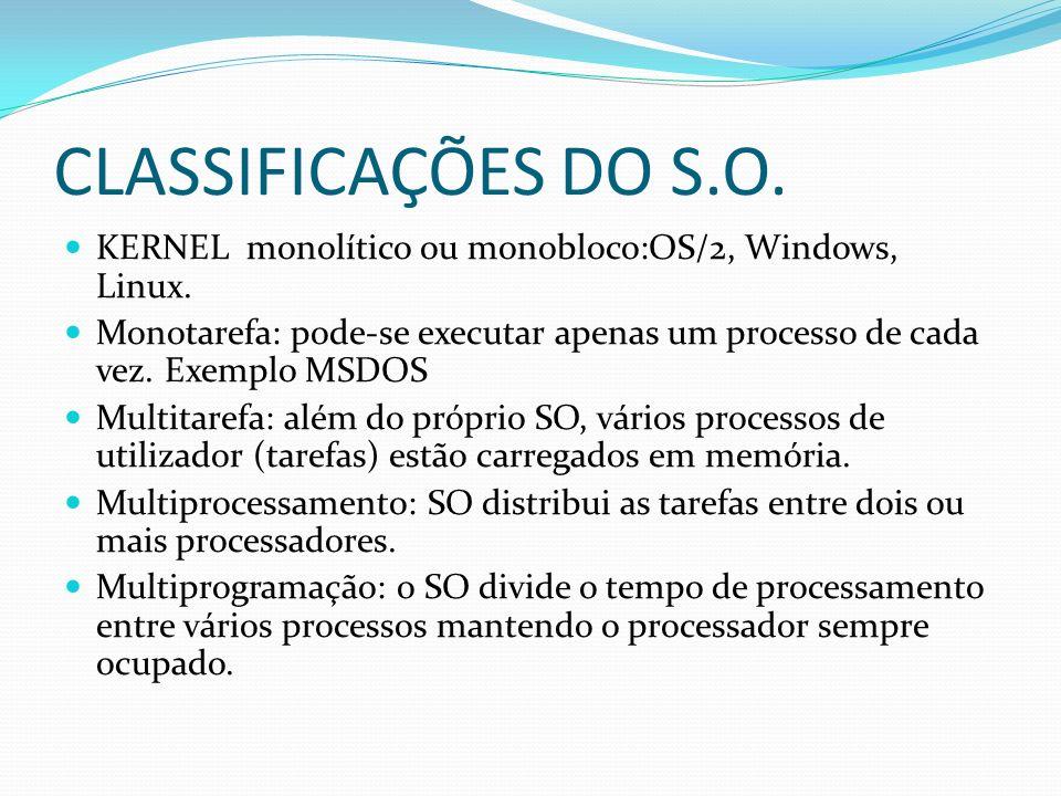 CLASSIFICAÇÕES DO S.O. KERNEL monolítico ou monobloco:OS/2, Windows, Linux. Monotarefa: pode-se executar apenas um processo de cada vez. Exemplo MSDOS