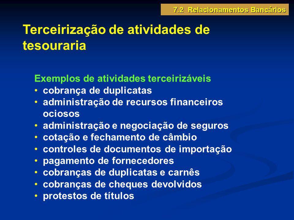 Terceirização de atividades de tesouraria Exemplos de atividades terceirizáveis cobrança de duplicatas administração de recursos financeiros ociosos a