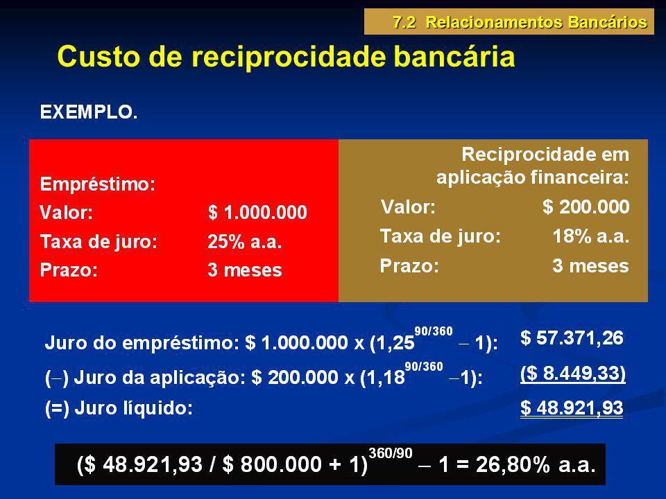 Custo de reciprocidade bancária 7.2 Relacionamentos Bancários
