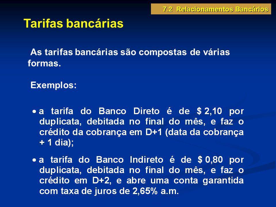 Tarifas bancárias As tarifas bancárias são compostas de várias formas. Exemplos: 7.2 Relacionamentos Bancários