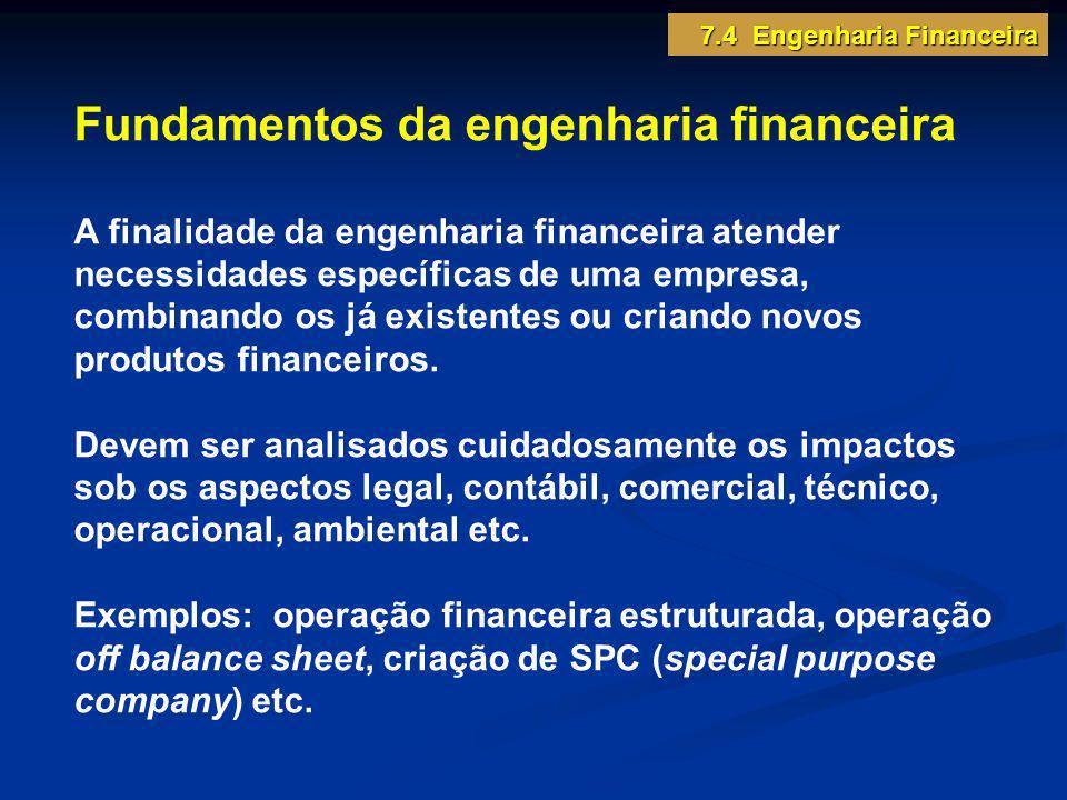 7.4 Engenharia Financeira Fundamentos da engenharia financeira A finalidade da engenharia financeira atender necessidades específicas de uma empresa,