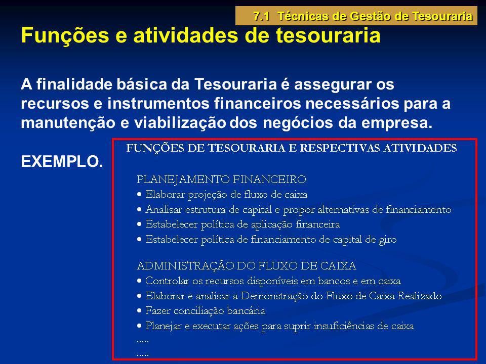 7.1 Técnicas de Gestão de Tesouraria Funções e atividades de tesouraria A finalidade básica da Tesouraria é assegurar os recursos e instrumentos finan