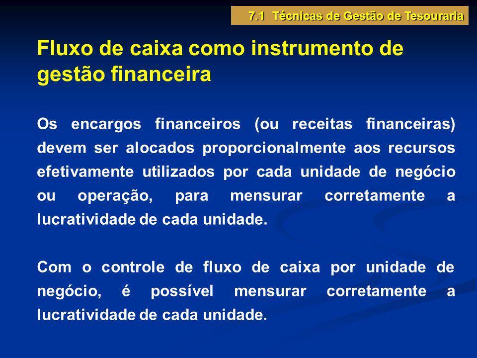 Fluxo de caixa como instrumento de gestão financeira Os encargos financeiros (ou receitas financeiras) devem ser alocados proporcionalmente aos recurs