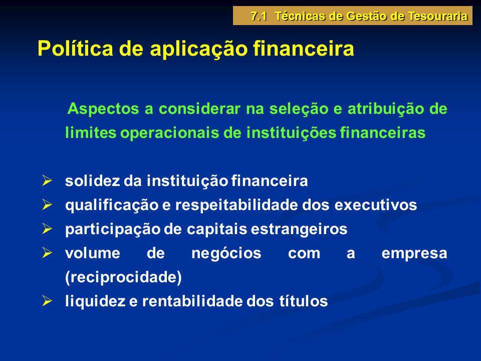 Política de aplicação financeira Aspectos a considerar na seleção e atribuição de limites operacionais de instituições financeiras solidez da institui