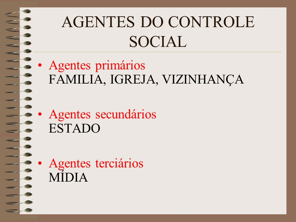 AGENTES DO CONTROLE SOCIAL Agentes primários FAMILIA, IGREJA, VIZINHANÇA Agentes secundários ESTADO Agentes terciários MÍDIA