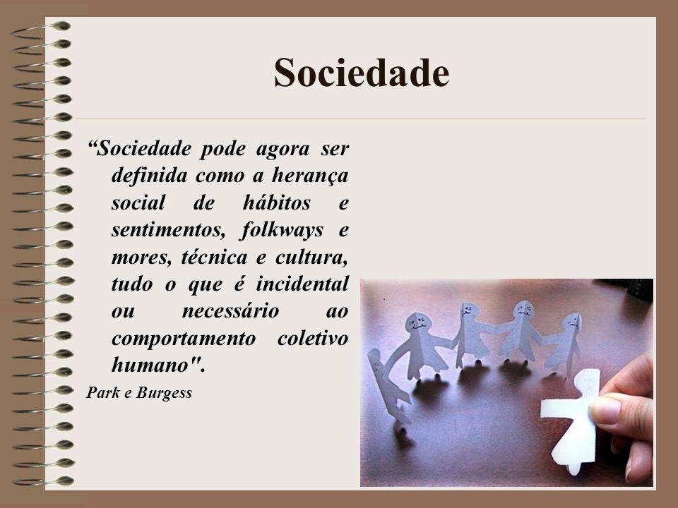 Sociedade Sociedade pode agora ser definida como a herança social de hábitos e sentimentos, folkways e mores, técnica e cultura, tudo o que é incident