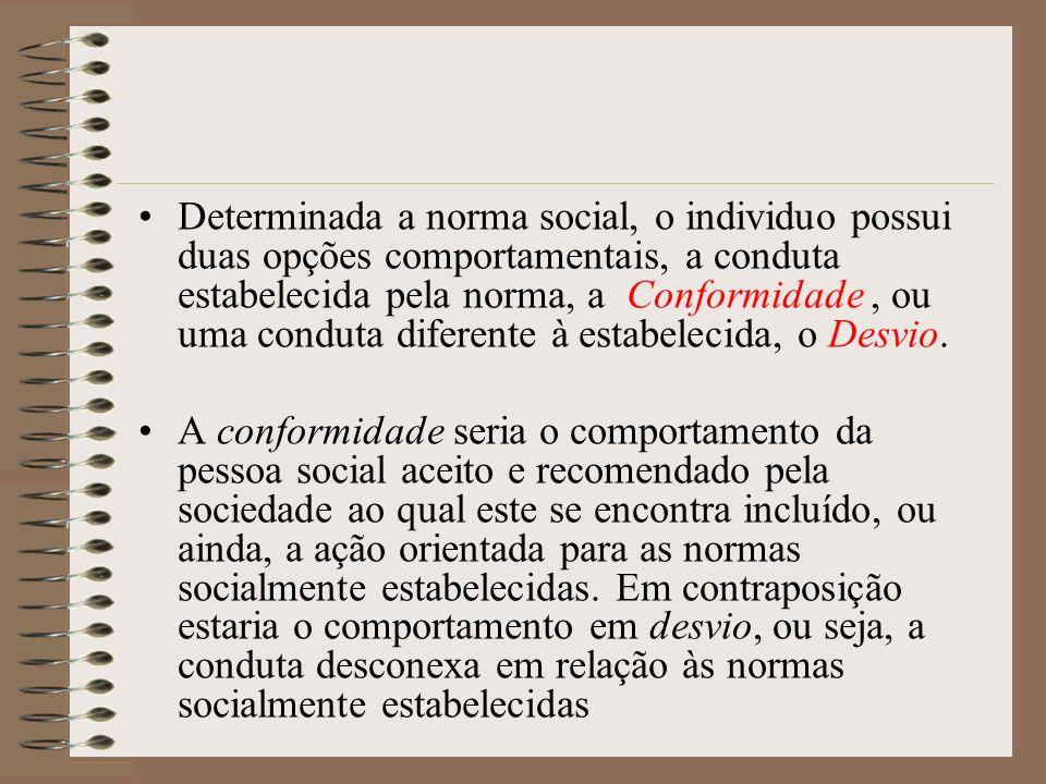 Determinada a norma social, o individuo possui duas opções comportamentais, a conduta estabelecida pela norma, a Conformidade, ou uma conduta diferent