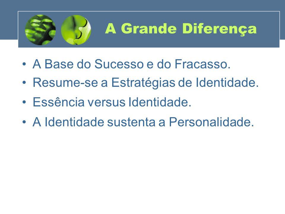 A Grande Diferença A Base do Sucesso e do Fracasso. Resume-se a Estratégias de Identidade. Essência versus Identidade. A Identidade sustenta a Persona