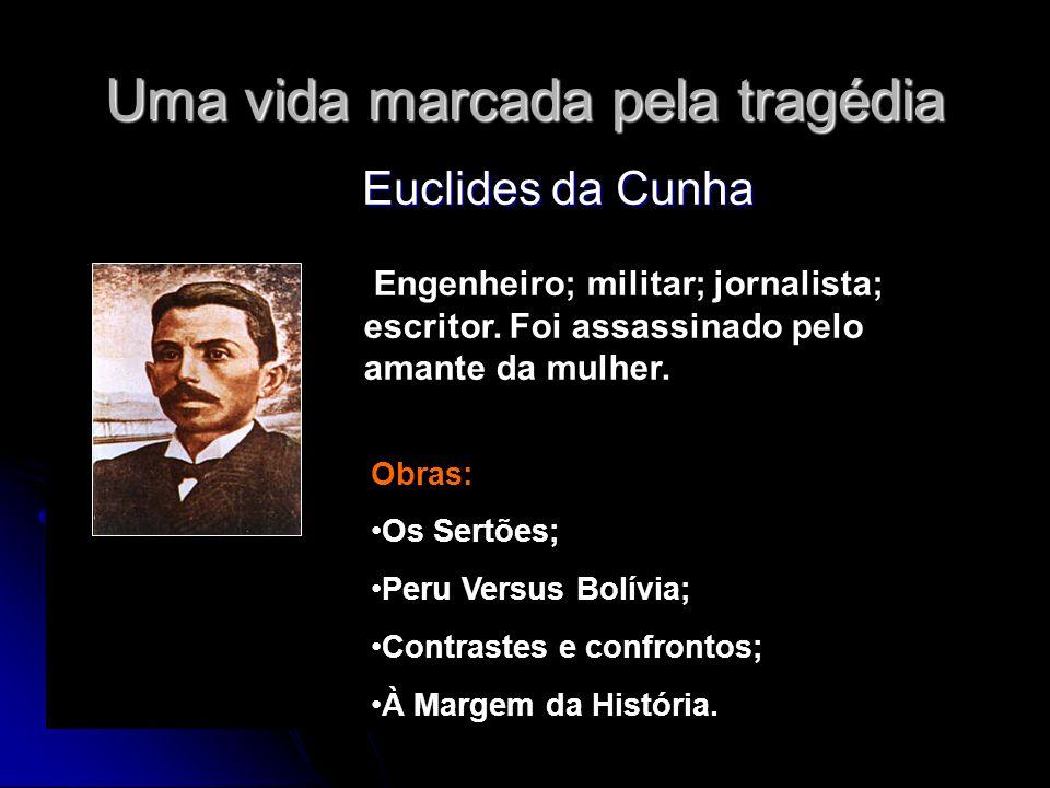 Uma vida marcada pela tragédia Euclides da Cunha Euclides da Cunha Obras: Os Sertões; Peru Versus Bolívia; Contrastes e confrontos; À Margem da Histór