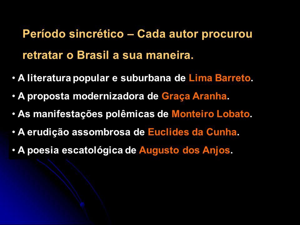 A literatura popular e suburbana de Lima Barreto. A proposta modernizadora de Graça Aranha. As manifestações polêmicas de Monteiro Lobato. A erudição