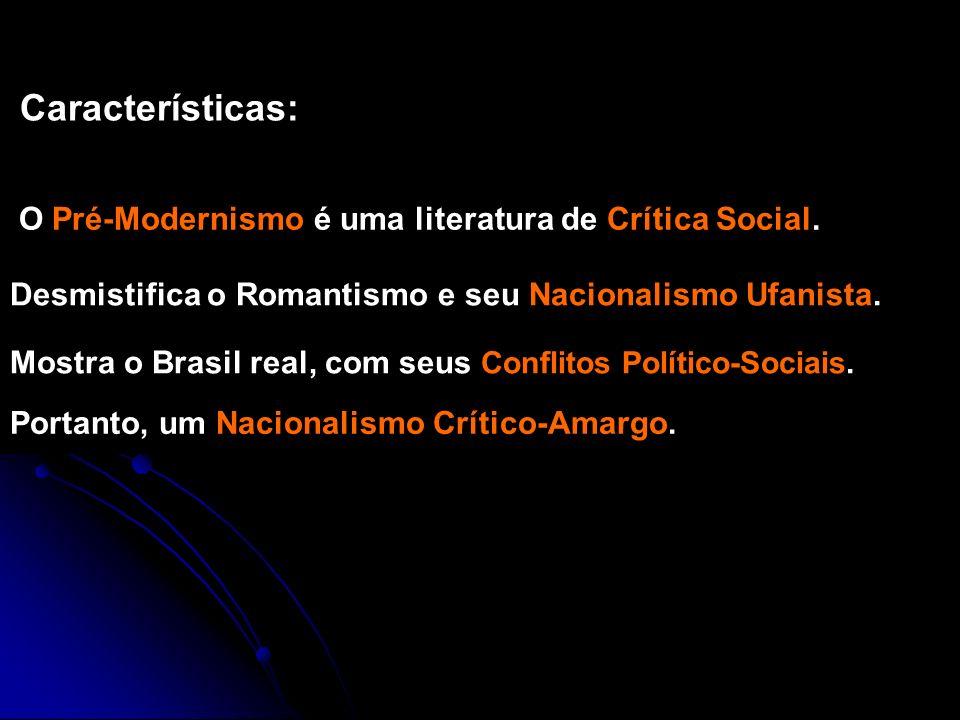 O Pré-Modernismo é uma literatura de Crítica Social. Características: Mostra o Brasil real, com seus Conflitos Político-Sociais. Desmistifica o Romant