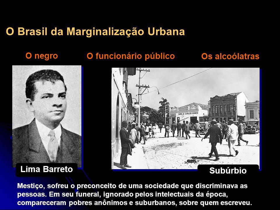 O Brasil da Marginalização Urbana O negro O funcionário público Os alcoólatras Lima Barreto Subúrbio Mestiço, sofreu o preconceito de uma sociedade qu