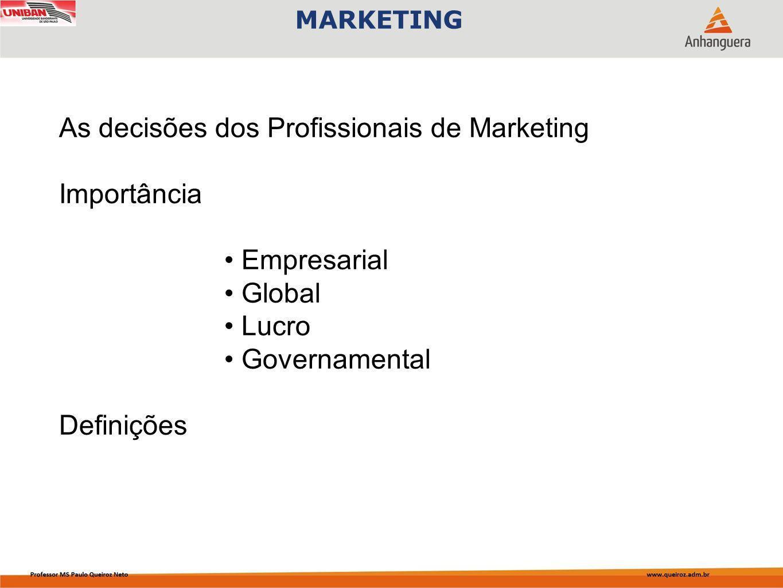 Capa da Obra MARKETING As decisões dos Profissionais de Marketing Importância Empresarial Global Lucro Governamental Definições
