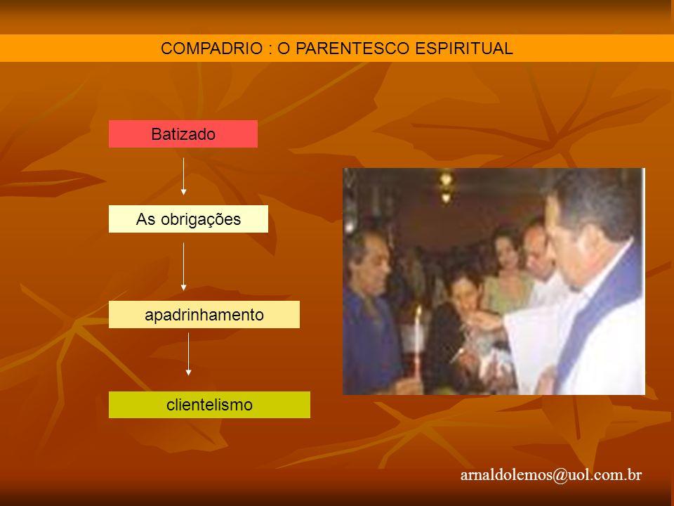 arnaldolemos@uol.com.br COMPADRIO : O PARENTESCO ESPIRITUAL Batizado As obrigações apadrinhamento clientelismo