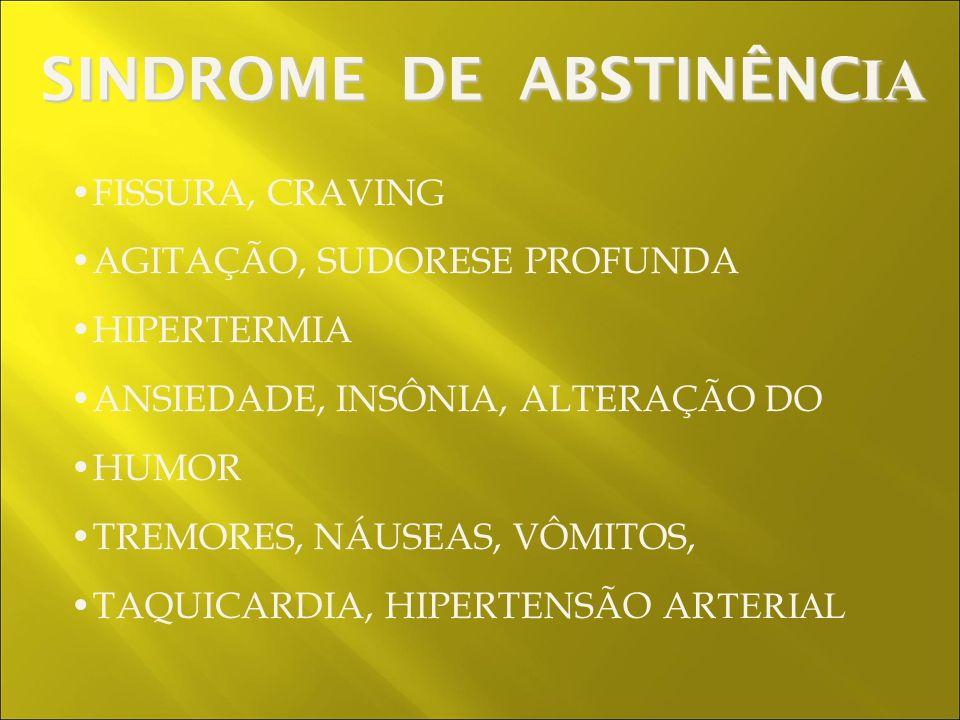 FISSURA, CRAVING AGITAÇÃO, SUDORESE PROFUNDA HIPERTERMIA ANSIEDADE, INSÔNIA, ALTERAÇÃO DO HUMOR TREMORES, NÁUSEAS, VÔMITOS, TAQUICARDIA, HIPERTENSÃO AR TERIAL SINDROME DE ABSTINÊNC IA