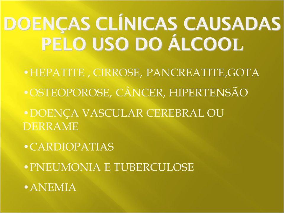 HEPATITE, CIRROSE, PANCREATITE,GOTA OSTEOPOROSE, CÂNCER, HIPERTENSÃO DOENÇA VASCULAR CEREBRAL OU DERRAME CARDIOPATIAS PNEUMONIA E TUBERCULOSE ANEMIA DOENÇAS CLÍNICAS CAUSADAS PELO USO DO ÁLCOO L